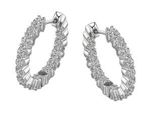 Diamond Hoop Earrings by Gabrielle Diamonds, 2.25 ct tw