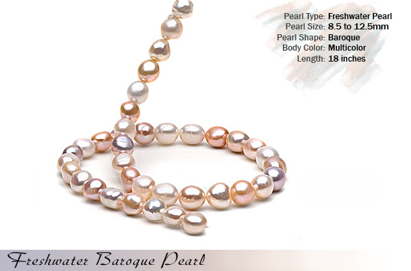 Multi-color Freshwater Pearl Necklace by pearlparadise.com