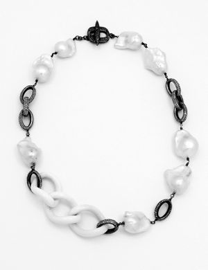 Jordan Alexander White Agate and Pearl Necklace