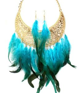 LA NY Couture Feather Bib Necklace