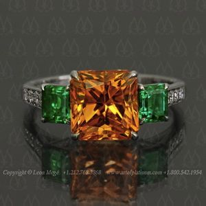 18kt White Gold Mandarin Garnet Diamond Wedding Ring Set