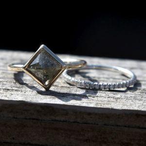 Aroc Urtu Square Diamond Ring and Band