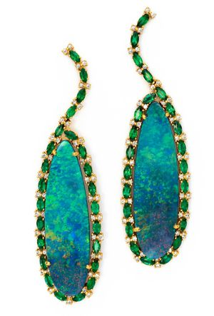 Sara Weinstock Emerald and Opal Earrings