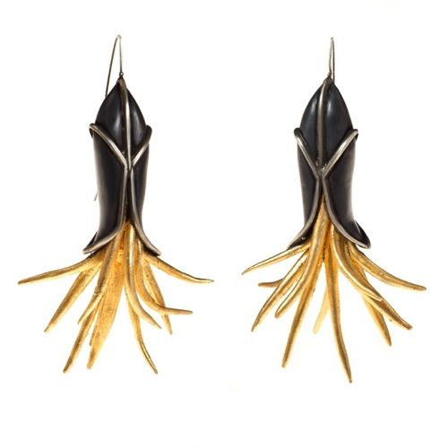 Shopbevel Golden Coral Earring
