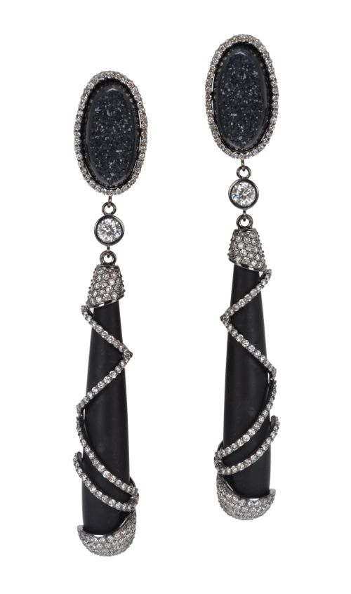 Colette Jewelry Zebra Earrings with white diamonds, frosted onyx and black druzy.