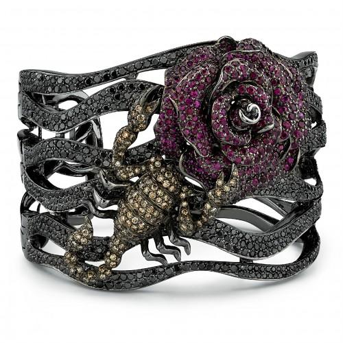 Borgioni Scorpion Rose Cuff Bracelet