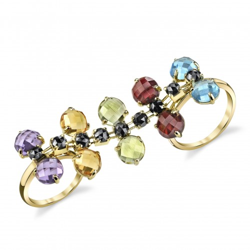Multi-Finger Ring with gemstones.