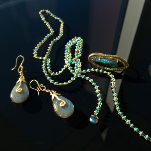 Amali Jewelry necklace, Pamela Froman earrings and ring