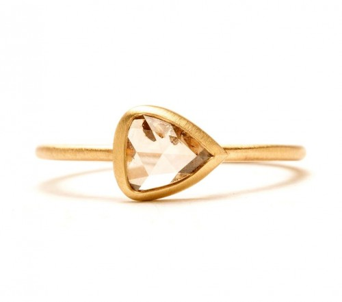 Rebecca Overmann pear shape engagement ring