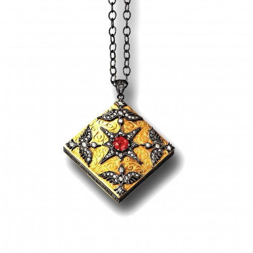 Arman square locket in 22kt gold and oxidized sterling silver, ruby and diamond. Image courtesy of Arman Sarkisyan.