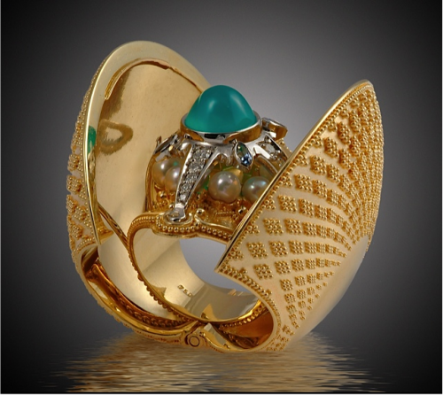 Raible Kent.Secret Treasure. Cosmic Clam Ring e1413994697998 American Jewelry Design Council AJDC Exhibit Goes to Kent State University
