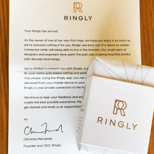 Ringly packaging and letter
