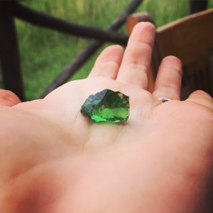 Rough tsavorite garnet gemstone