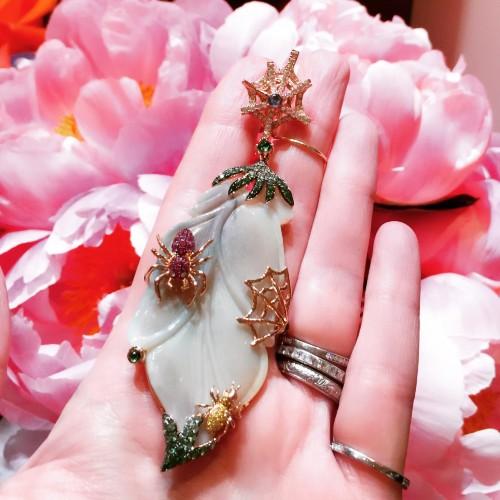 Wendy Yue Jewellery carved jade earrings